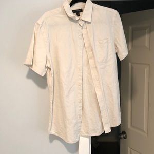 White Linen Slim Fit Button Up Short Sleeve